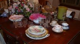 BRIDES BASKET   PAINTED PLATES   CUPS AND SAUCERS AND MORE ALL NICE