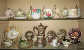 Collection of antique/vintage cups/saucers, chocolate set