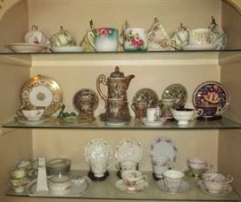 Collection of cups & saucers, antique chocolate set