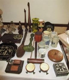 Antique desk set, misc. stoneware mugs, misc. vintage & antique collectibles