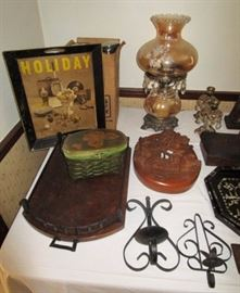 Vintage electric lamp, vintage trays, wall sconces