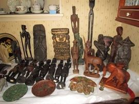 Collection of vintage wooden hand carved figures