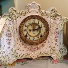 "Beautiful Clock ~ Porcelain w/flowers - Brass Works ""Bates Co."" Ansonia 1881 Bonn (Works!)"