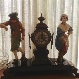 Ansonia Clock ~ Fiddle player & Dancing girl ~ Wind up dated 1881