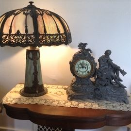 Beautiful Slag lamp, Cast clock, and  Antique Bridge (Folding) Table