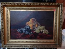 Artist: Unknown, Still life with peaches and grapes, Oil on Canvas