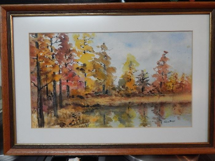 Artist: Edna Mayo, Fall Scene, Watercolor