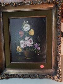 Artist: L. Ruggier, Still life of Flowers, Oil on Canvas