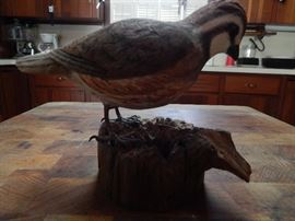 Artist: Harold Smith, Gadston, AL, Handcarved Image of Bob White Quail on Wood, Plastic and Acrylic Paint