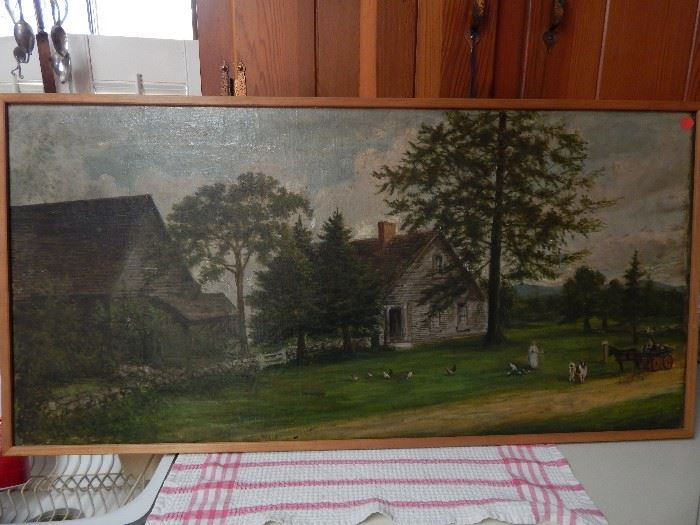 Artist: Catherine Stow-1915, House and Barn Scene, Oil on Stretched Canvas