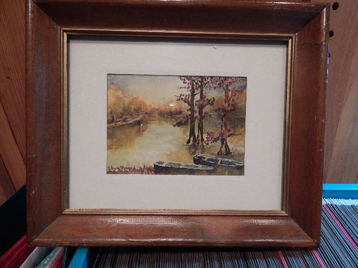 Artist: Edna Mayo, Lake Scene With Boat, Water Color