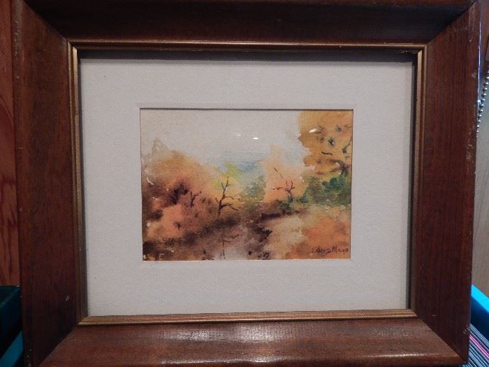 Artist: Edna Mayo, Fall Forest Scene, Water Color