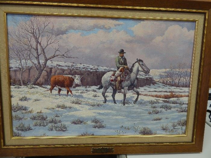 """Artist: George Dabich, """"Early Calf"""", Oil on Pre-Stretched Canvas"""