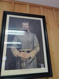 Artist: J. M. Garner 1973, Portrait of Nathan Bedford Forrest, Lithograph