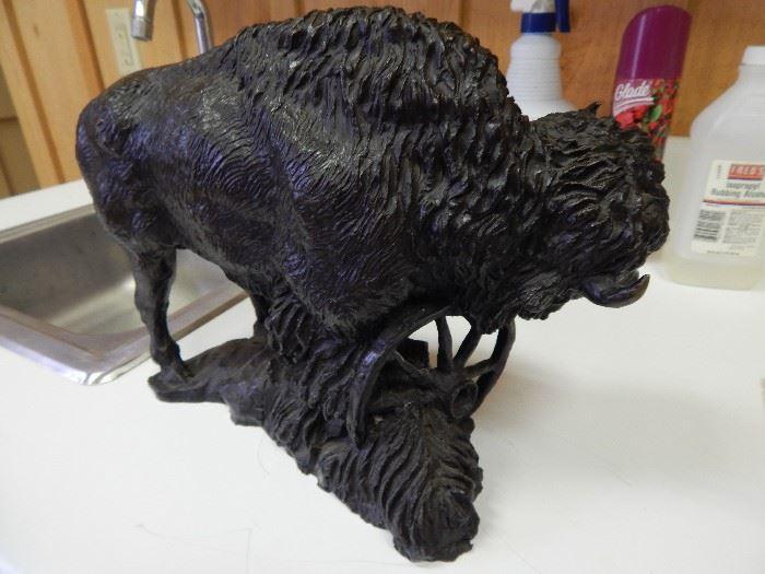 """Artist: Rusty Phelps, """"Buffalo""""  Bronze Sculpture"""