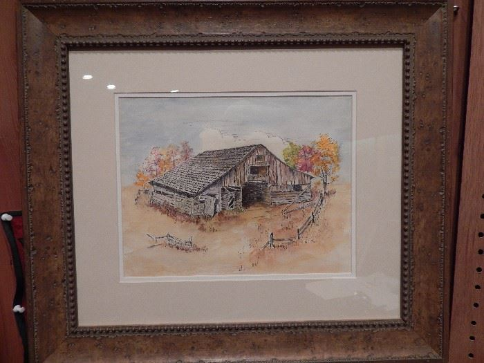 Artist: Edna Mayo, Title Unknown, Barn Scene With Fence, Water Color and Pen and Ink