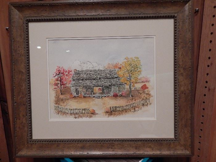Artist: Edna Mayo, Title Unknown, Country House With Dog Trot, Water Color and Pen and Ink