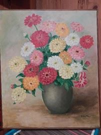 Artist: Edna Mayo, Title Unknown, Floral Scene with Zinnias, Acrylic on Stretched Canvas