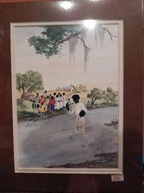 Artist: Willoweise, Title Unknown, Baptism of Blacks in a Stream, Authentic Work, Double Signed, Lithograph