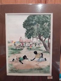 Artist: Willoweise, Title Unknown, Blacks Playing Marbles, Authentic Work, Double Signed, Lithograph