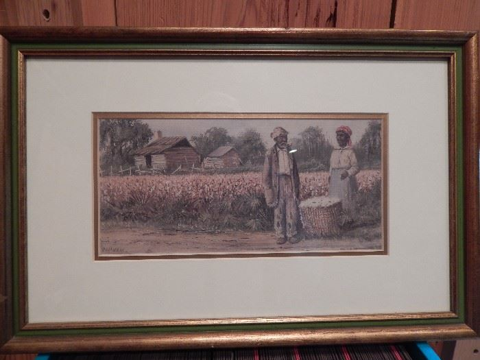 Artist: William Aiken Walker 1838-1921, Untitled, Blacks Standing on Road by Cotton Patch, Lithograph