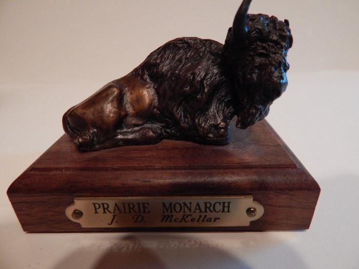 "Artist: J.D. McKellar, ""Prairie "", Bronze Sculpture, Authentic Piece, Double Signed, Lost Wax Process"