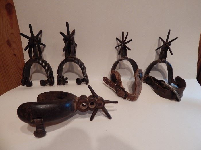 2 Pairs and 2 Single Henry Iron Mexican Spurs