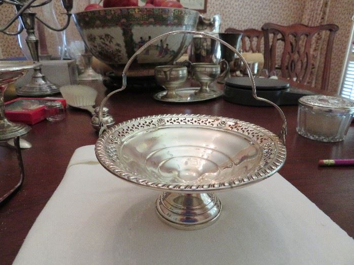 Sterling Silver Footed Basket,