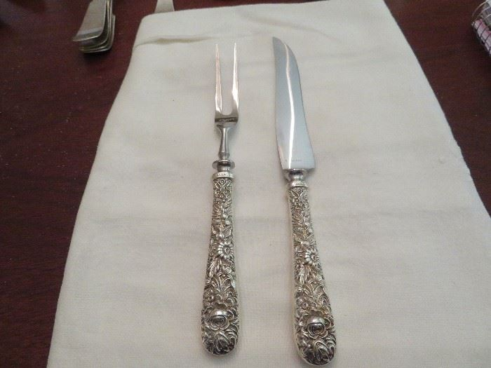 Sterling Silver Carving Set, S. Kirk and Sons Silver Repousse Carving Set