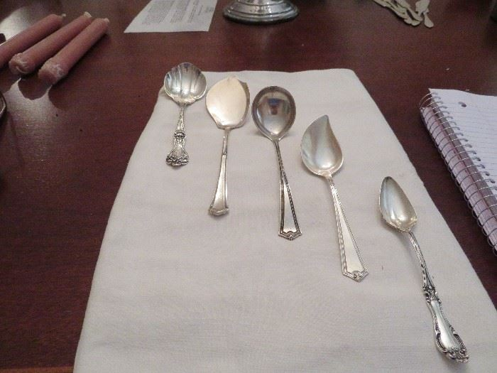 Sterling Silver Spoons, Alvin, Wallace, SSMC, Baird North Co, Gravy, Jelly, Grapefruit and Sugar Spoon