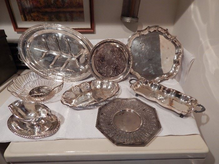 Silver Plated Serving Trays, Scalloped, Oval, Footed Rectangle With Handles, Octagon Tray is EPNS