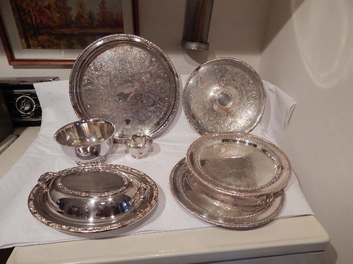 Silver Plated Trays by WM Rogers, Serving Tray, Tray With Center for Condiments, Bowl Set, Oval Covered Dish
