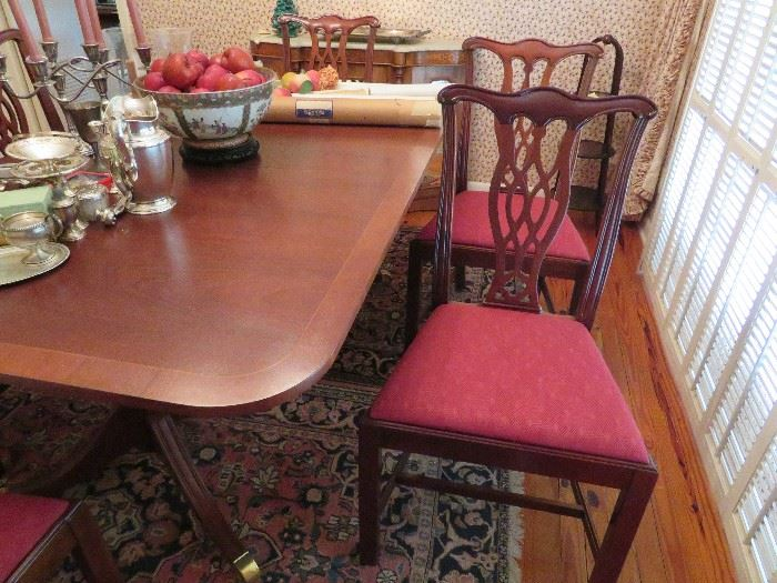 Set of 6 Upholstered Georgian Chippendale Side Chairs, Mahogany