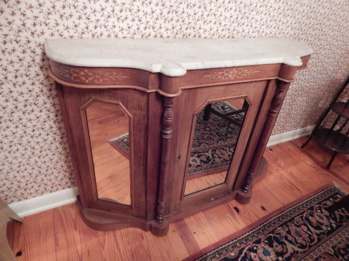 French Commode Chest with Marble Top, Mirrors on 3 Sides, AKA Petticoat Table