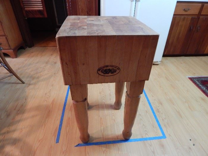 Butcher Block Table by Brankstone Cooper, 18 Inch, Carved Legs