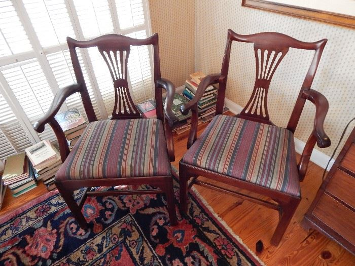 2 Federal Carved Dining Room Arm Chairs, Upholstered Bottom