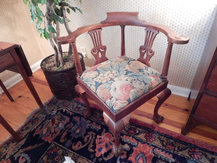 Chippendale Style Corner Chair, Carved Mahogany, Upholstered Bottom, Claw and Ball Feet