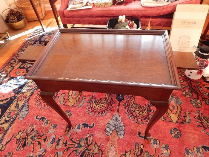 Queen Ann Tea Table by Kindel (Grand Rapid), Mahogany, Tray Top with End Drawer Panels