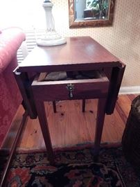 Pair Pembroke Style End Tables by J. Homer Walters, Dropped Leaf with End Drawer