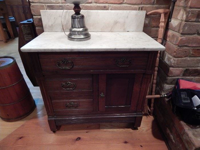 Marble Top Washstand on Rollers, Marble Backsplash, Eastlake Style