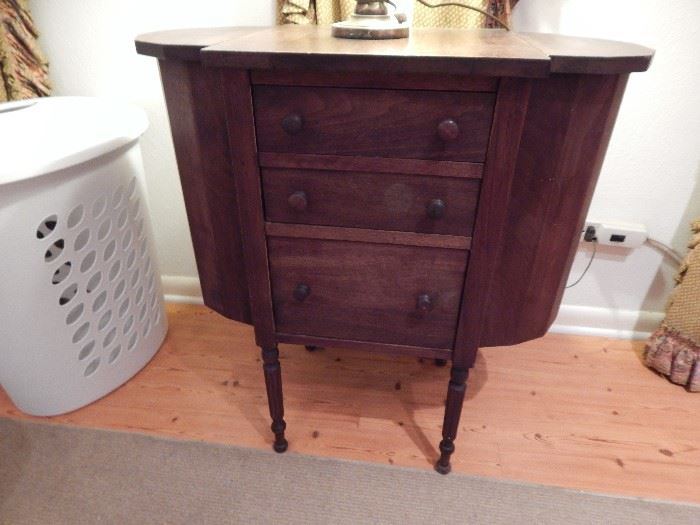 Sewing Cabinet, 3 Drawer, Spindle Legs, 2 Deep Cabinets on Each Side