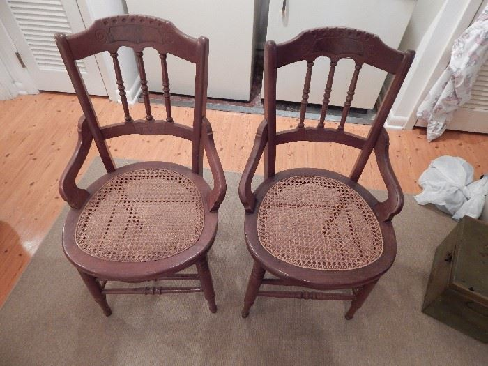 Victorian Cain Bottom Chairs, Set of 5, Bentwood on Sides, Spindle Foot Rails