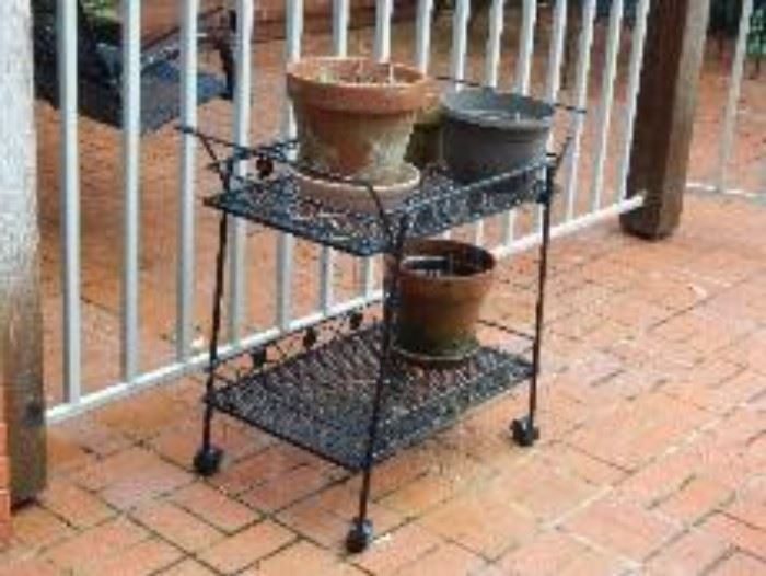 Wrought Iron Tea Cart and Large Flower Pots