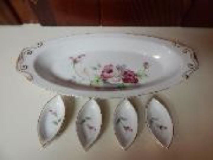 Occupied Japan Fish Platter with Condiment Bowls