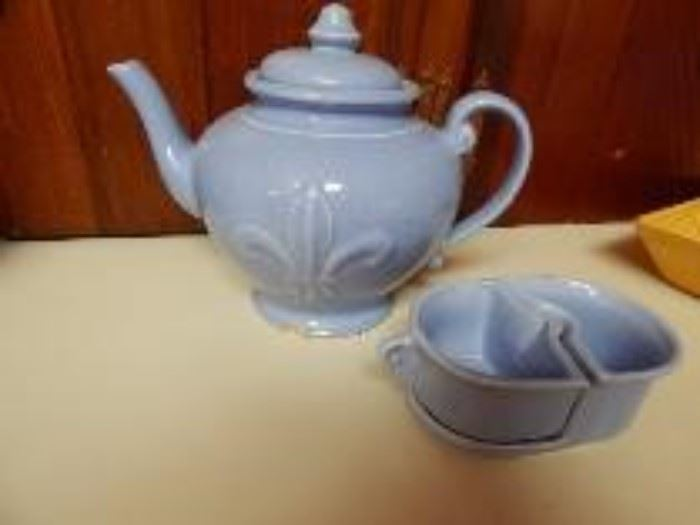 Shawnee Pottery Pitcher and Condiment Bowl