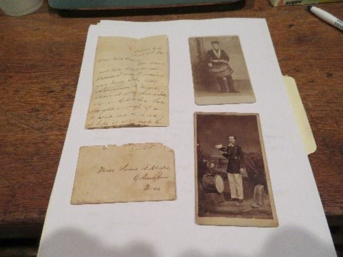 """Union City, Tennessee Document--Confederate love letter with two pictures of soldiers written by a Mississippi soldier in Union City """"going to get Lincoln's head"""" in the letter.  Documents are an outstanding set of Confederate artifacts."""