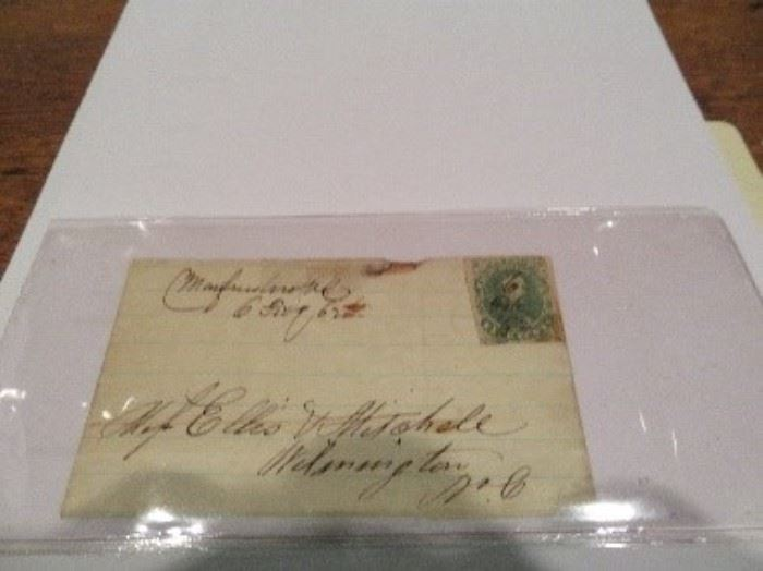 North Carolina Document--Murfreesboro, NC This is a stamped letter with a Confederate stamp