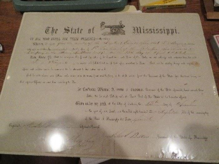 Mississippi Document--This is a commission document to a position of 1st Lieutenant of the South Sons and Company in Amory, MS.  Document is from 1861 and signed by John J. Pettus the Governor for Mississippi at the time Mississippi succeeded from the Union.  April 13, 1861.