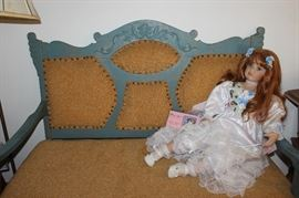 Vintage settee and beautiful Girl Doll