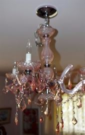 Drippy pink glass chandilier
